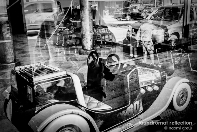 Laundromat Reflections BW Signed 1000