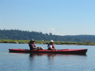 Kayaking in the Puget Sound in Front of Mount Rainier