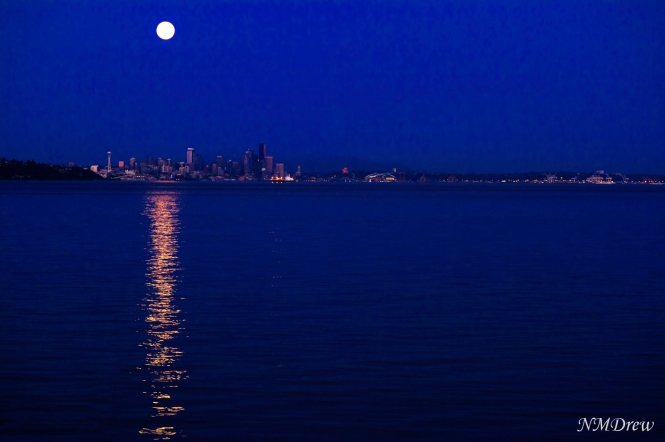Super Moon Over Seattle 10 Aug 2014